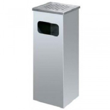 Stainless Steel Dustbin - Square Litter Bin with Ashtray Top - SQB-007SS