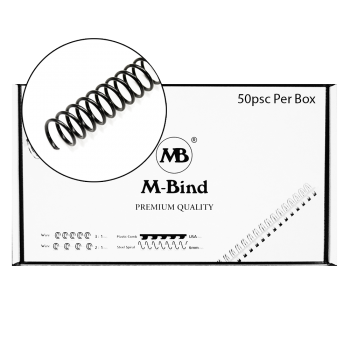 M-Bind Steel Spiral - 31.8mm x 51 Coil, 50/box, Black