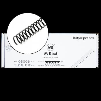 M-Bind Steel Spiral - 9.5mm x 51 Coil, 100/box, Black