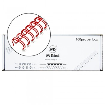 "M-Bind Double Wire Bind 3:1 A4 - 7/16""(11mm) X 34 Loops, 100pcs/box, Red"