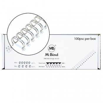 "M-Bind Double Wire Bind 3:1 A4 - 7/16""(11mm) X 34 Loops, 100pcs/box, Silver"