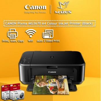 Canon Pixma MG3670 A4 Colour Inkjet Printer (Black)