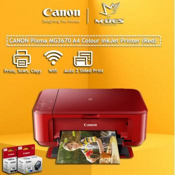 Canon Pixma MG3670 A4 Colour Inkjet Printer (Red)