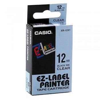 Casio Ez-Label Tape Cartridge - 12mm, Black on Clear (XR-12X1)