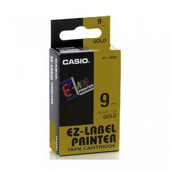 Casio Ez-Label Tape Cartridge - 9mm, Black on Gold (XR-9GD1)