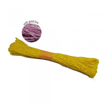 Colorful Paper Rope 25meters with Gold Line - Yellow
