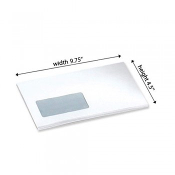 "White Envelope - Window - 4.5"" x 9.75"" - 500 PCS Peel and Seal (Item No: C03-15) A5R1B10"