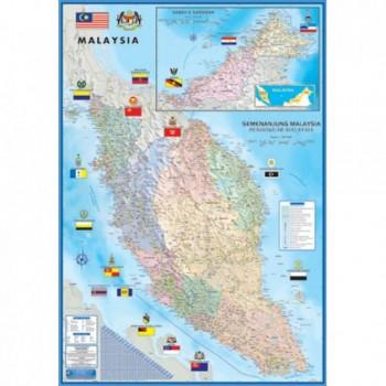"Map Of Malaysia Large Peninsular M182 - (Laminated) H28"" x W40"""