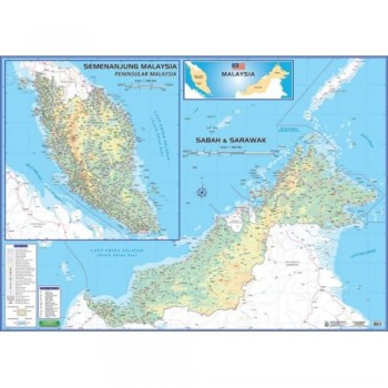 """Map Of Malaysia M206 – East & West (Laminated) H42"""" x W58"""""""