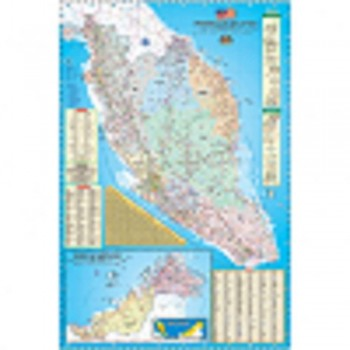 """Map Of Malaysia Road Map & Highway Guide M122 - (Laminated) H24"""" x W36"""""""