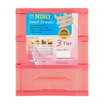 NISO 3 Tier Small Drawer Pink 17 x 4.5 x 12cm