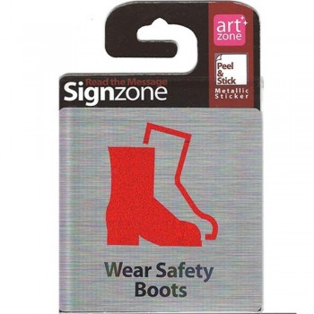 Signzone Peel & Stick Metallic Sticker - Wear Safety Boots (Item No: R01-01WS BOOTS)