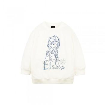 Frozen 2 Series: Elsa Embroidery Kids Sweatshirt (White, Size 100)