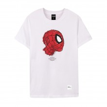 Spider-Man Series Side Face Tee (White, Size XL)
