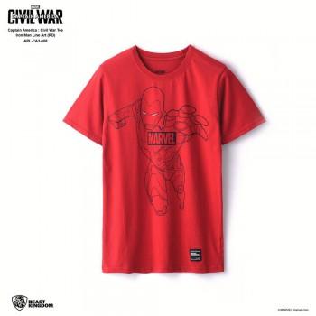 Marvel Captain America Civil War Tee Iron Man Line Art - Red