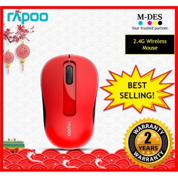RAPOO M10+ M10plus 2.4G Wireless Mouse (Red)