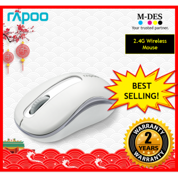 RAPOO M10+ M10plus 2.4G Wireless Mouse (White)