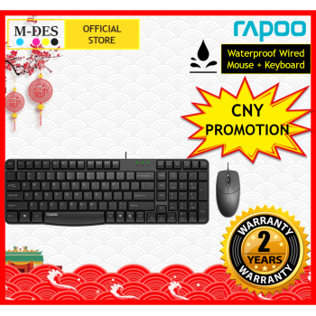 [Waterproof] RAPOO X120 Pro Wired Mouse + Keyboard (Combo Set)