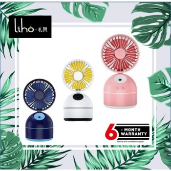 LIHO New F09 Spray Fan USB Charging Convenient Desktop Moisturizing Creative Silent Mini Fan (White)