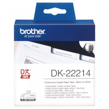 Brother DK22214 Continuous Length Paper Tape - 12mm x 30.48m