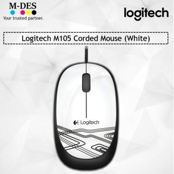 Logitech M105 Corded Mouse (White)
