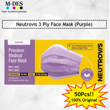 Neutrovis 3Ply Earloop Extra Protection Extra Soft For Skin Sensitive Premium Medical Face Mask Lavender Purple (50's)