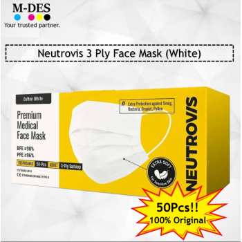 Neutrovis 3Ply Earloop Extra Protection Extra Soft For Skin Sensitive Premium Medical Face Mask White (50's)