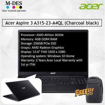 Acer Notebook Aspire 3 (A315-23-A4QL) - Charcoal Black