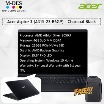 Acer Notebook Aspire 3 (A315-23-R6GP) - Charcoal Black