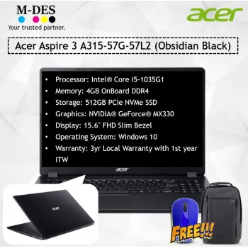 Acer Notebook Aspire 3 (A315-57G-57L2) - Obsidian Black