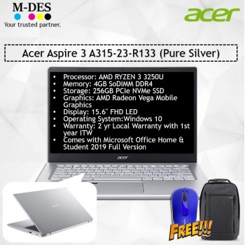 Acer Notebook Aspire 3 (A315-23-R133) - Pure Silver