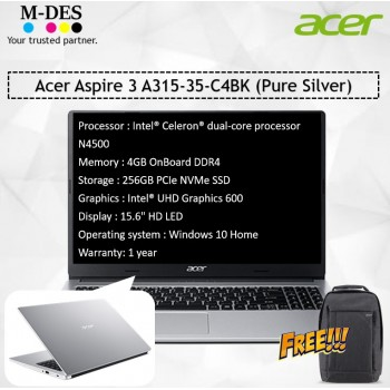Acer Notebook Aspire 3 (A315-35-C4BK) - Pure Silver