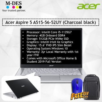 Acer Notebook Aspire 5 (A515-56-52UY) - Charcoal Black