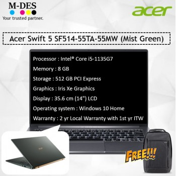 Acer Notebook Swift 5 (SF514-55TA-55MW) - Mist Green