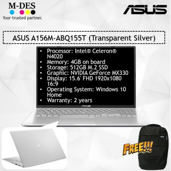 ASUS Notebook (A156M-ABQ155T) - Transparent Silver