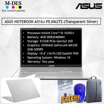 ASUS NOTEBOOK (A516J-PEJ062TS) - Transparent Silver