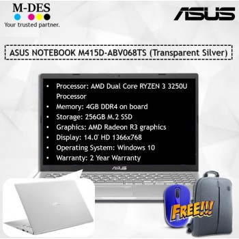 ASUS NOTEBOOK (M415D-ABV068TS) - Transparent Silver