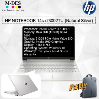 HP Notebook (14s-cf3092TU) -Natural Silver