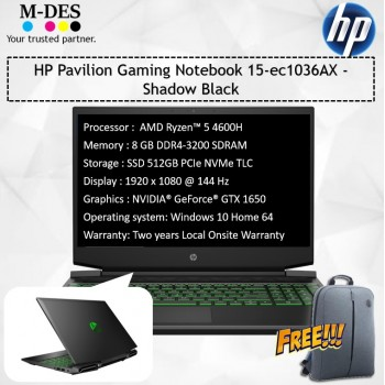 HP Pavilion Gaming Notebook (15-ec1036AX) - Shadow Black
