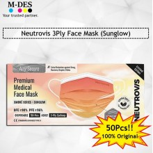 Neutrovis 3Ply Earloop Extra Protection Extra Soft For Skin Sensitive Premium Medical Face Mask Sunglow (50's)