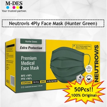 Neutrovis 4Ply Earloop Extra Protection Extra Soft For Skin Sensitive Premium Medical Face Mask Hunter Green (50's)
