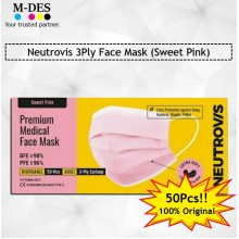 Neutrovis 3Ply Earloop Extra Protection Extra Soft For Skin Sensitive Premium Medical Face Mask Sweet Pink (50's)