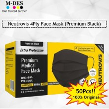Neutrovis 4Ply Earloop Extra Protection Extra Soft For Skin Sensitive Premium Medical Face Mask Black (50's)
